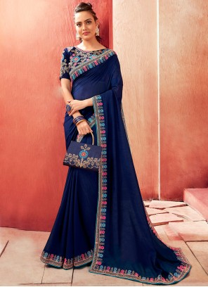 Chanderi Navy Blue Bollywood Saree