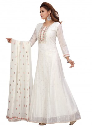 Chanderi Off White Readymade Suit