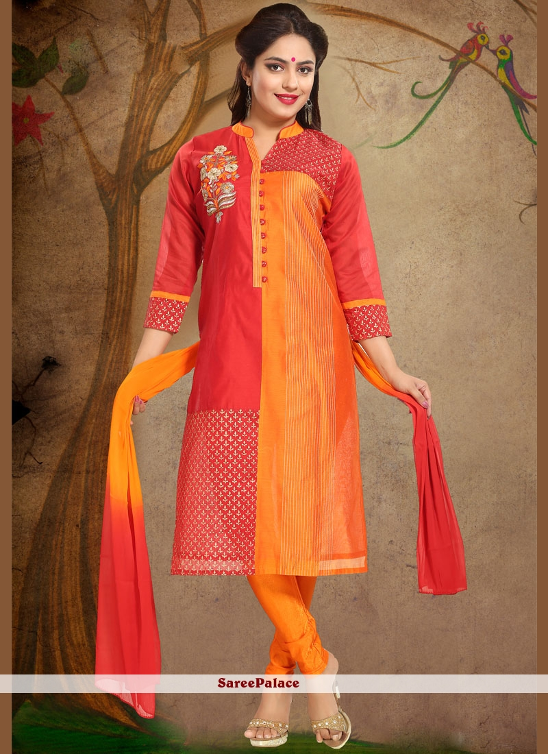 Chanderi Orange and Red Print Work Readymade Suit