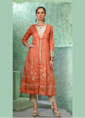 Chanderi Orange Designer Kurti