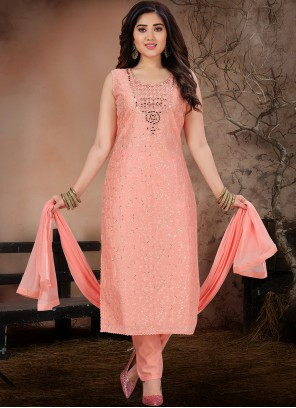 Chanderi Pant Style Suit in Pink