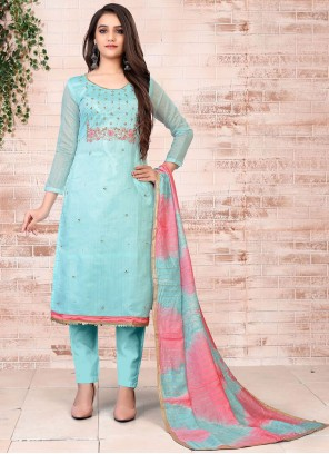 Chanderi Pant Style Suit in Turquoise