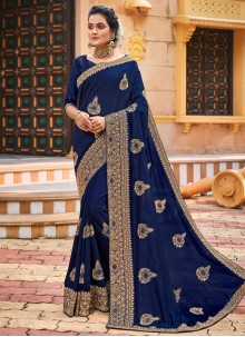 Chanderi Patch Border Blue Designer Traditional Saree