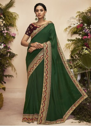 Green Chanderi Patch Border Designer Traditional Saree