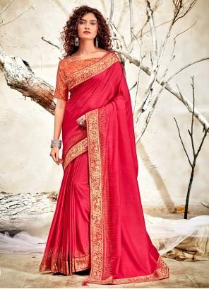 Chanderi Patch Border Pink Designer Traditional Saree