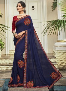 Chanderi Patch Border Silk Saree in Blue