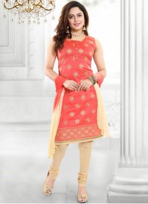 Chanderi Peach Churidar Designer Suit