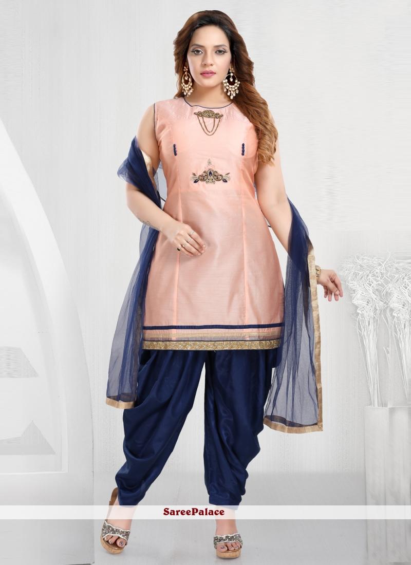 Chanderi Peach Designer Patiala Suit