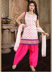Chanderi Pink and White Embroidered Designer Patiala Suit