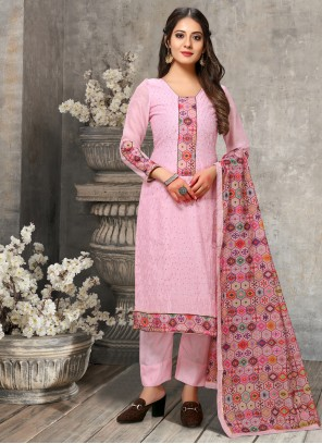 Chanderi Pink Designer Suit