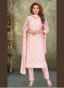 Chanderi Pink Embroidered Pant Style Suit