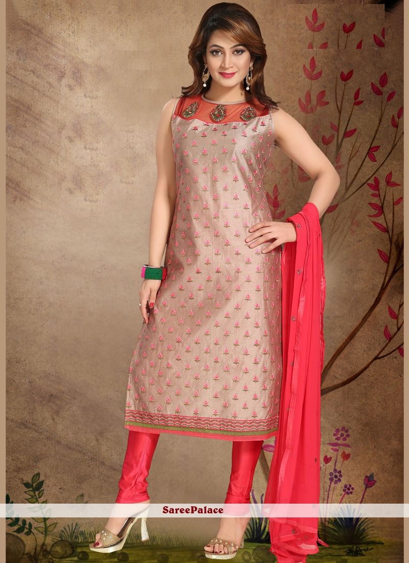 Chanderi Pink Embroidered Work Readymade Suit