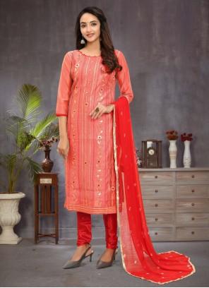 Chanderi Pink Fancy Churidar Salwar Suit