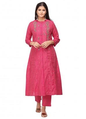 Chanderi Pink Salwar Suit