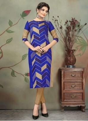 Chanderi Print Blue Designer Kurti
