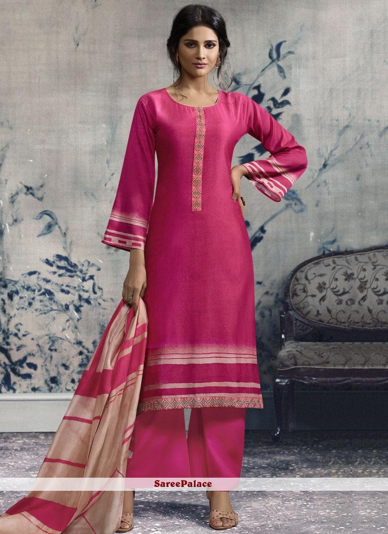 Chanderi Print Designer Palazzo Suit in Hot Pink