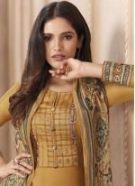 Chanderi Print Designer Straight Suit in Mustard