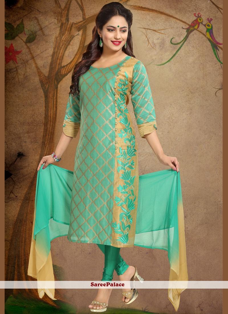 Chanderi Print Work Readymade Suit