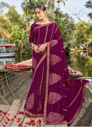 Chanderi Printed Saree in Magenta