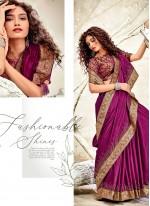 Chanderi Purple Patch Border Designer Traditional Saree