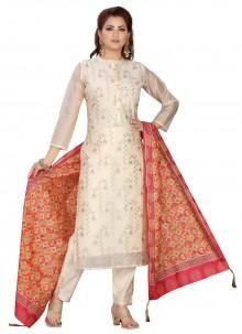 Cream Chanderi Readymade Suit