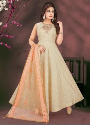 Chanderi Cream Readymade Suit