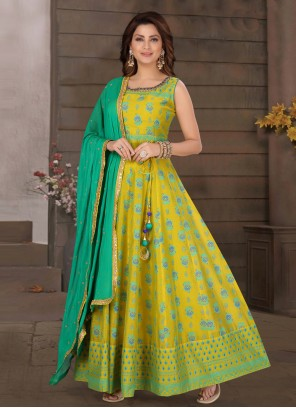 Chanderi Readymade Suit in Green and Yellow