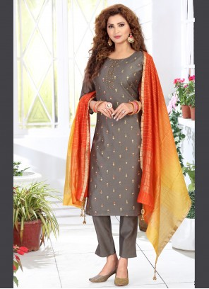Chanderi Readymade Suit in Grey