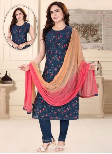 Chanderi Readymade Suit in Navy Blue