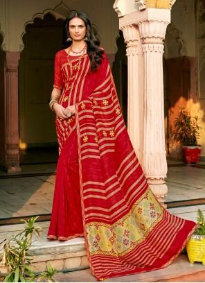 Chanderi Red Trendy Saree