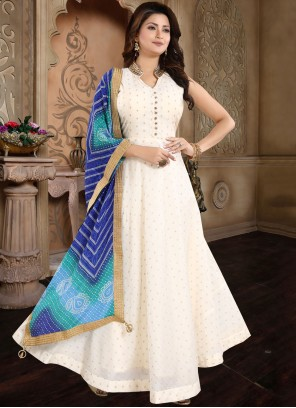 Chanderi Salwar Suit in Cream