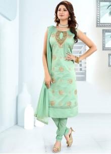 Chanderi Sea Green Fancy Churidar Designer Suit