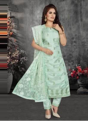 Chanderi Sea Green Fancy Readymade Suit