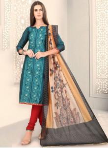 Chanderi Teal Fancy Churidar Designer Suit