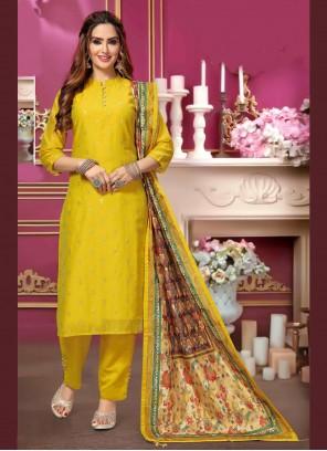 Chanderi Trendy Yellow Salwar Kameez