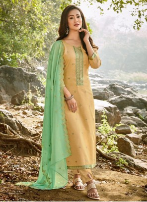 Chanderi Yellow Embroidered Pant Style Suit