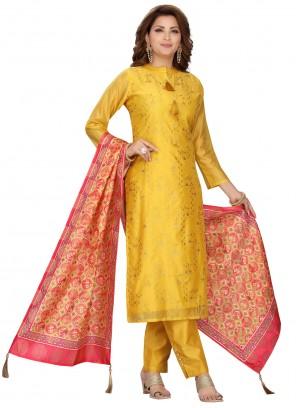 Chanderi Yellow Readymade Suit