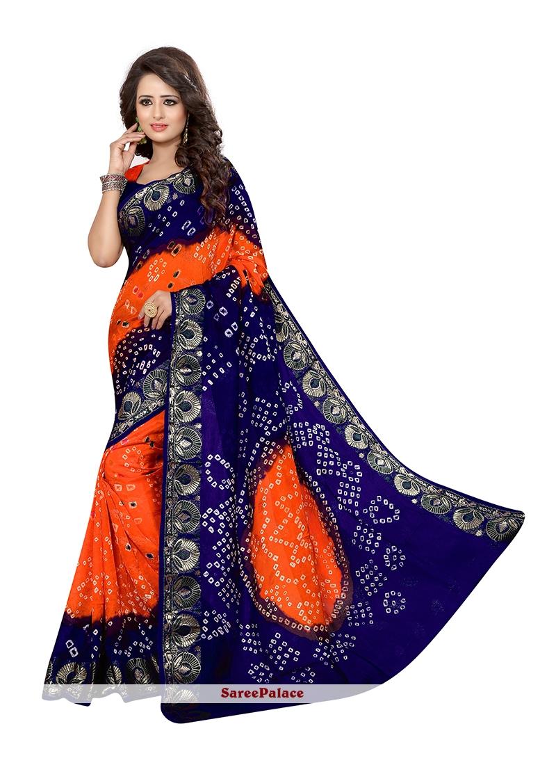 Charismatic Jacquard Silk Bandhej Work Designer Traditional Saree