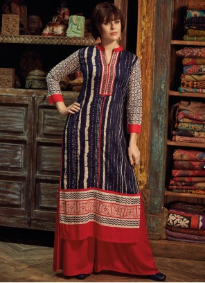 Charismatic Rayon Navy Blue Party Wear Kurti