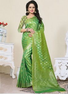 Charming Green Banarasi Silk Designer Traditional Saree