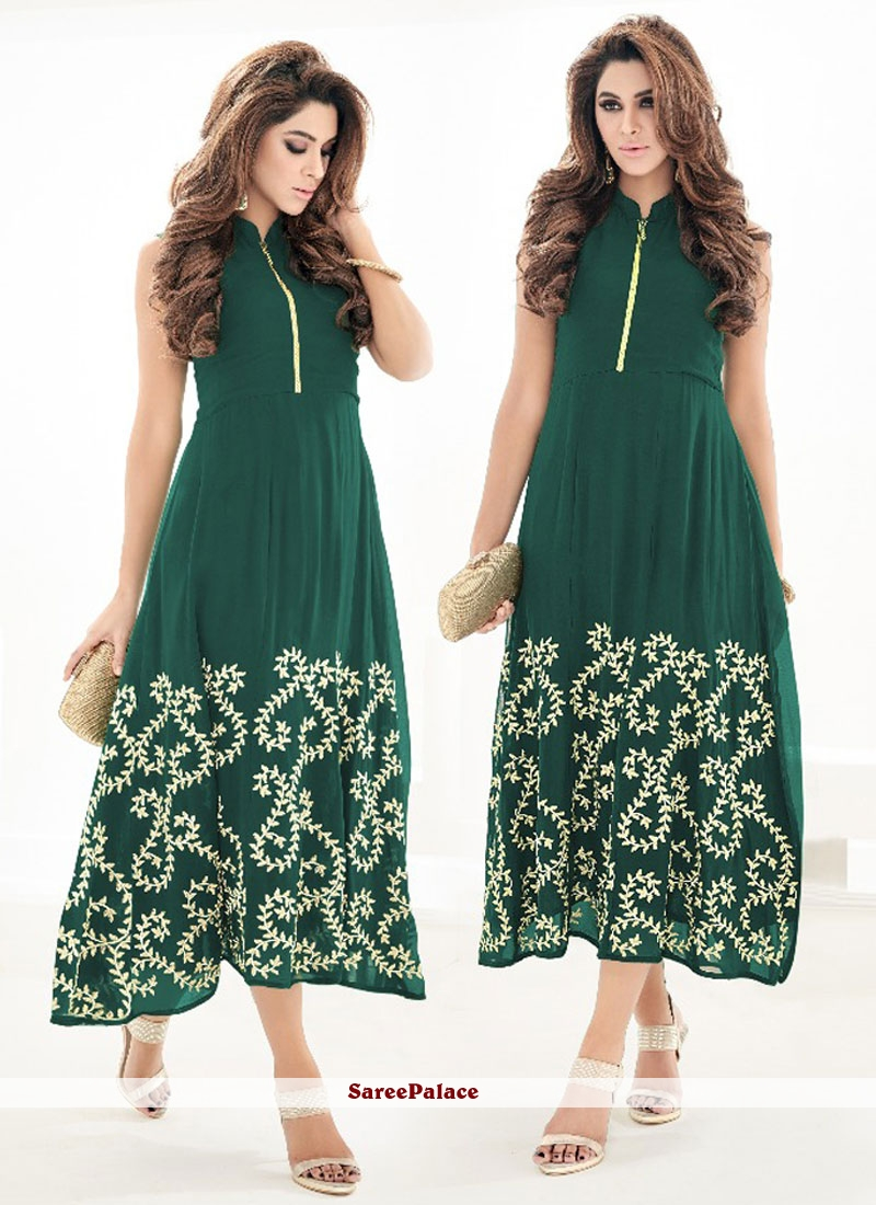 Charming Green Embroidered Work Party Wear Kurti