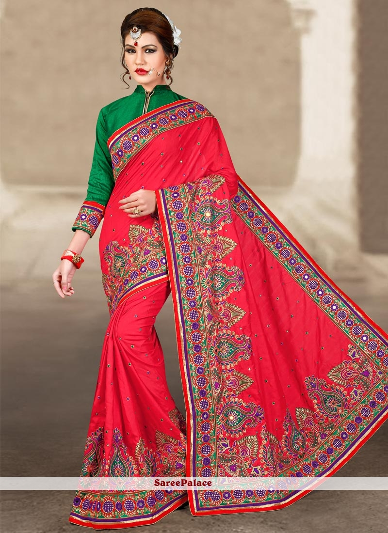 Charming Manipuri Silk Resham Work Traditional Designer Saree
