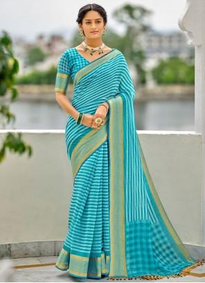 Blue Checks Cotton Printed Saree