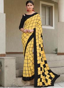 Yellow Checks Satin Silk Designer Saree