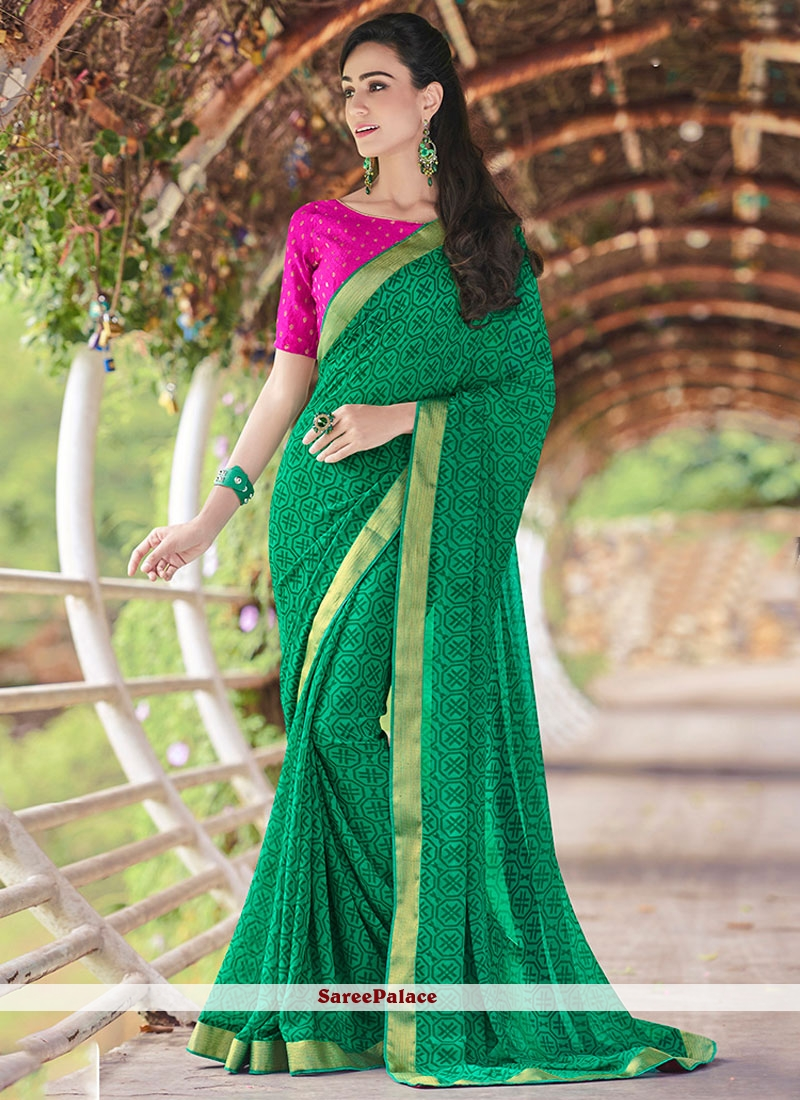 Cherubic Georgette Print Work Printed Saree