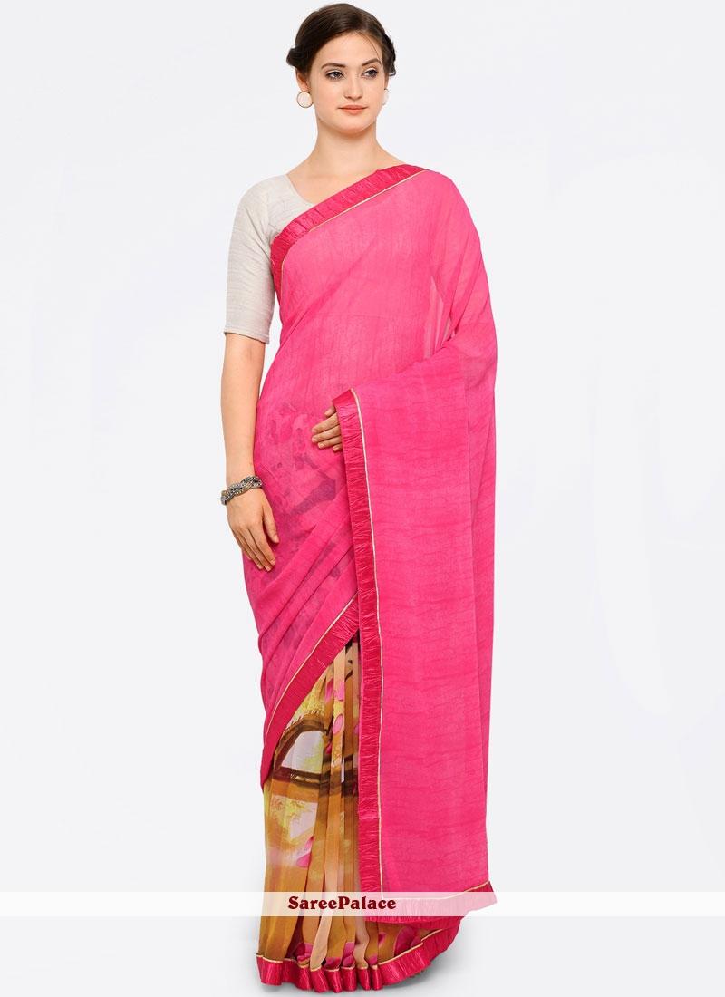 Cherubic Print Work Pink Printed Saree