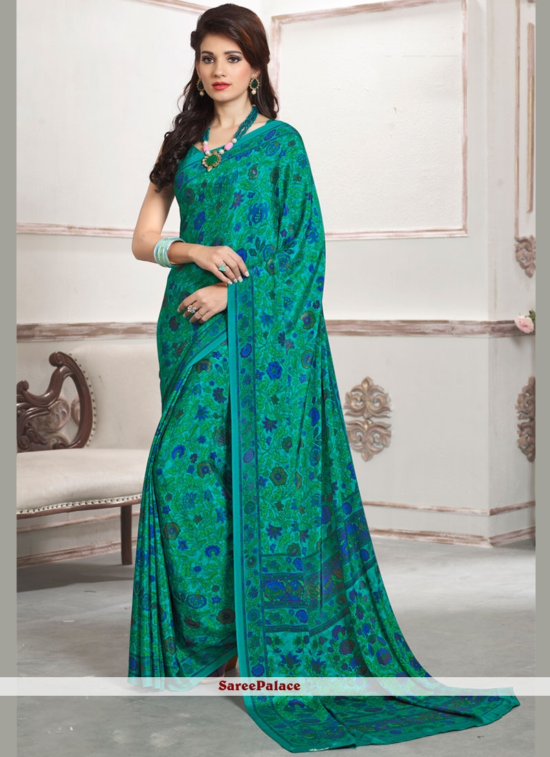Cherubic Sea Green Print Work Faux Crepe Printed Saree