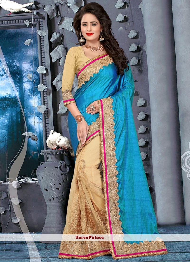 Chic Zari Work Half N Half Designer Saree