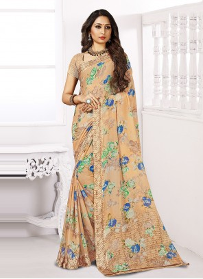 Chiffon Satin Casual Saree in Multi Colour