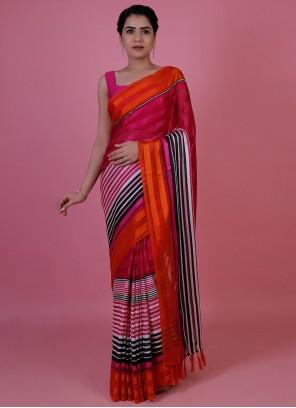 Multi Colour Chiffon Satin Festival Classic Saree